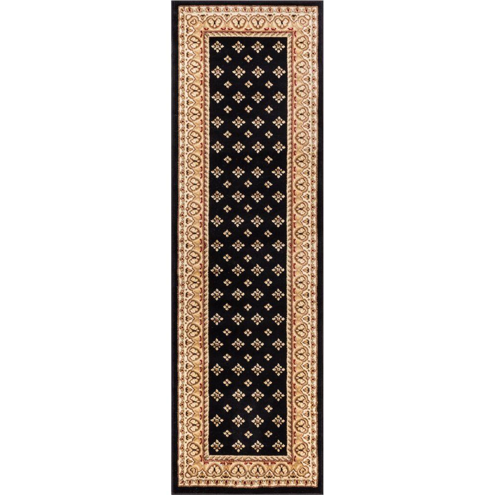 Barclay Hudson Terrace Black 2 ft. x 7 ft. Traditional Border Runner Rug