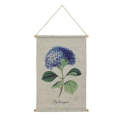 Hydrangea Hanging Linen Blue Wall Tapestry