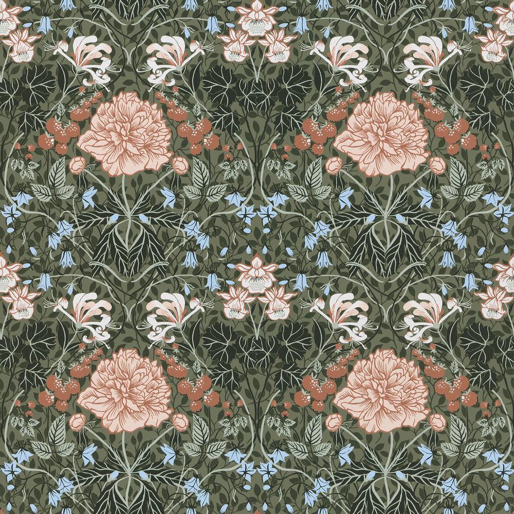 Celestine Green Floral Wallpaper