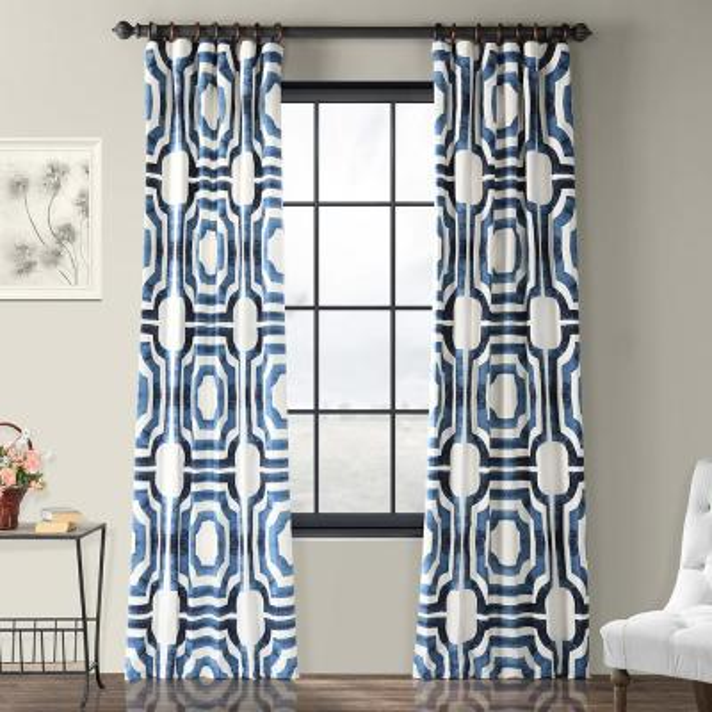 Mecca Blue Room Darkening Printed Cotton Curtain - 50 in. W x 84 in. L