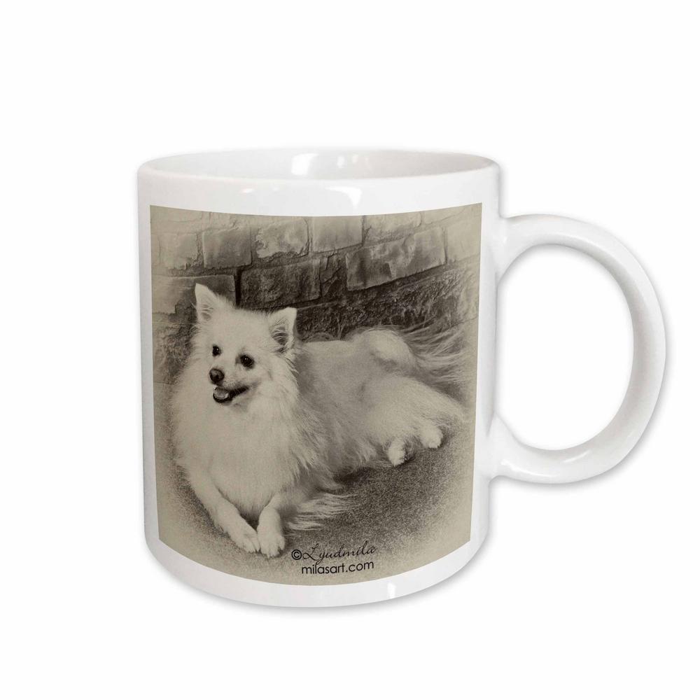Milas Art Dogs 11 oz. White Ceramic American Eskimo Dog Mug