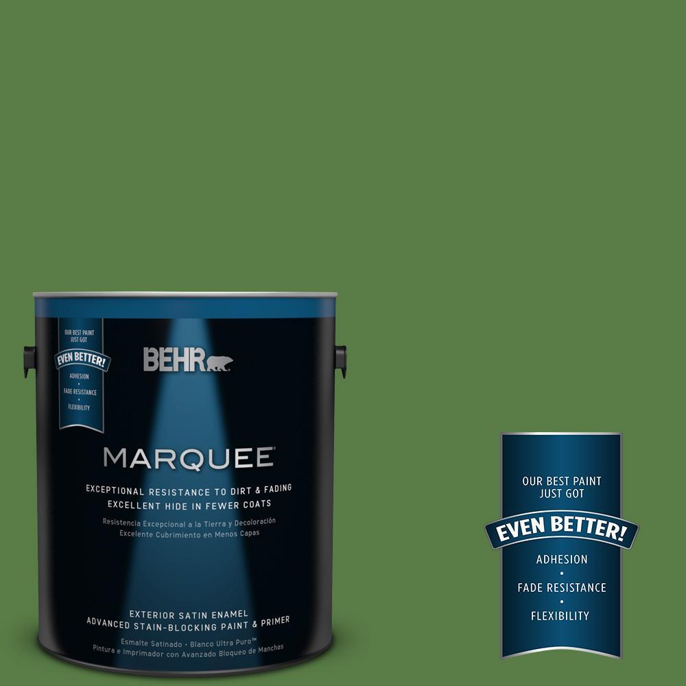 BEHR MARQUEE 1-gal. #440D-6 Grassy Field Satin Enamel Exterior Paint