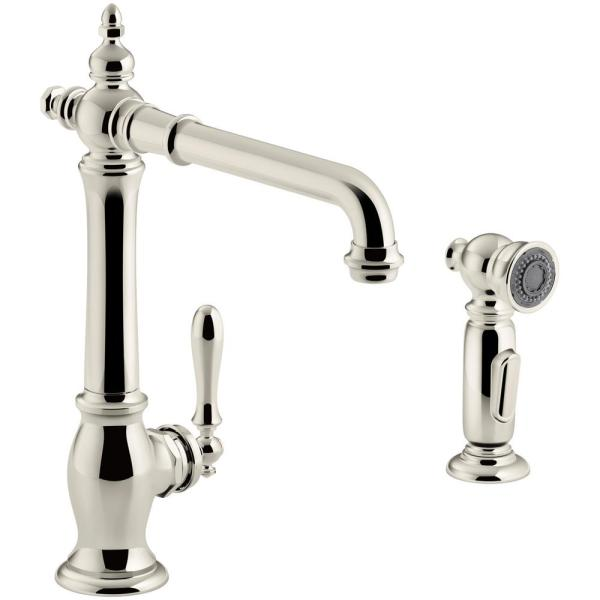 Artifacts Single-Handle Standard Kitchen Faucet with Victorian Spout Design and Side Sprayer in Vibrant Polished Nickel