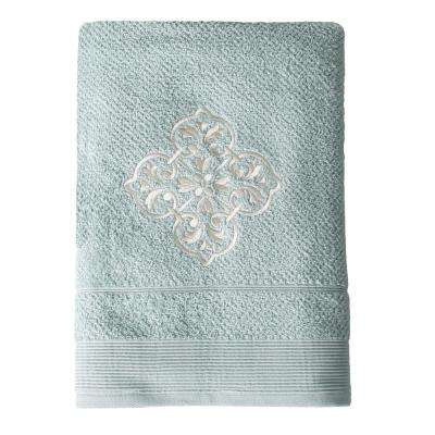 Modena Embroidered Cotton Bath Towel in Light Blue