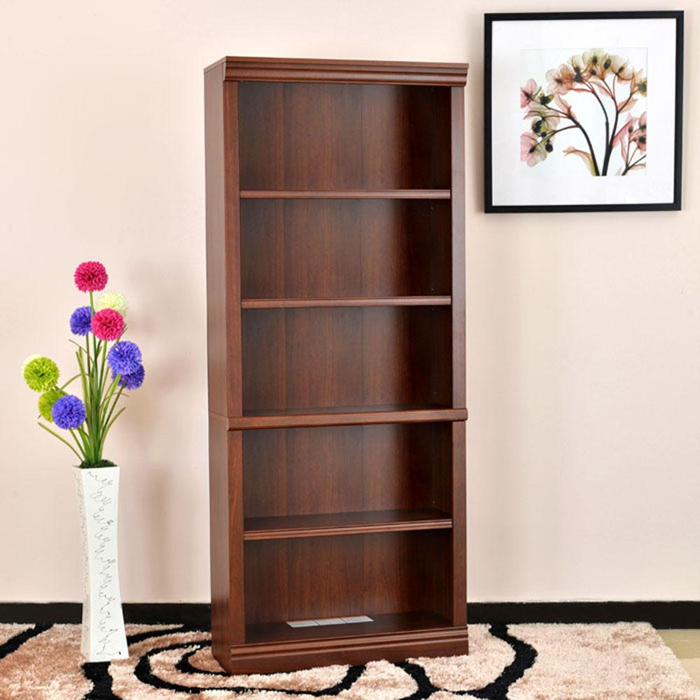 Dark Brown Wood Open Bookcase