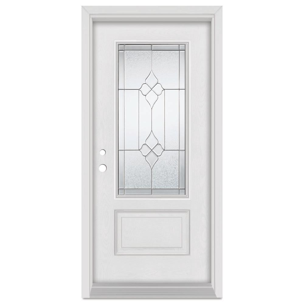 Stanley Doors 33.375 in. x 83 in. Geometric Right-Hand Zinc Finished Fiberglass Mahogany Woodgrain Prehung Front Door Brickmould