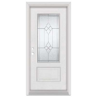 33.375 in. x 83 in. Geometric Right-Hand Zinc Finished Fiberglass Mahogany Woodgrain Prehung Front Door Brickmould