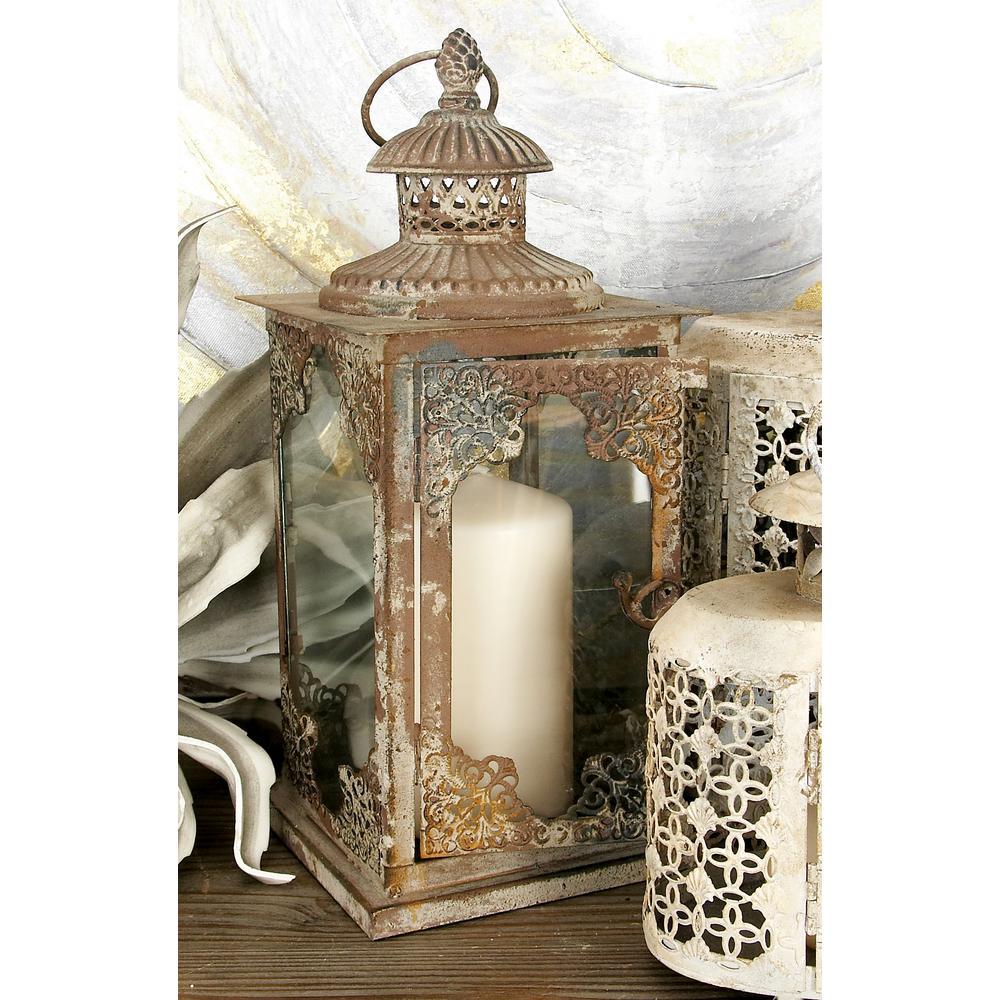 13 in. Rustic Gray Iron and Glass Flourish Candle Lantern