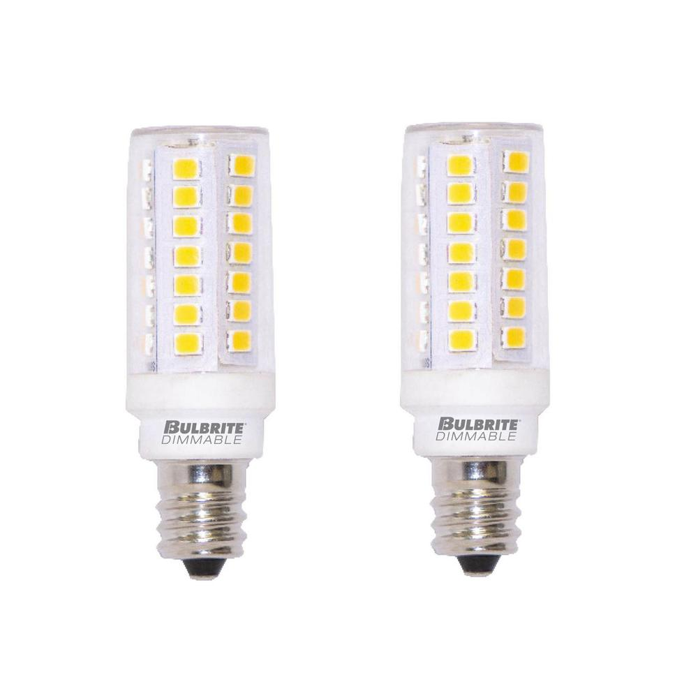 Bulbrite 60 Watt Equivalent T6 Dimmable Candelabra Led Light Bulb Warm White 2 Pack