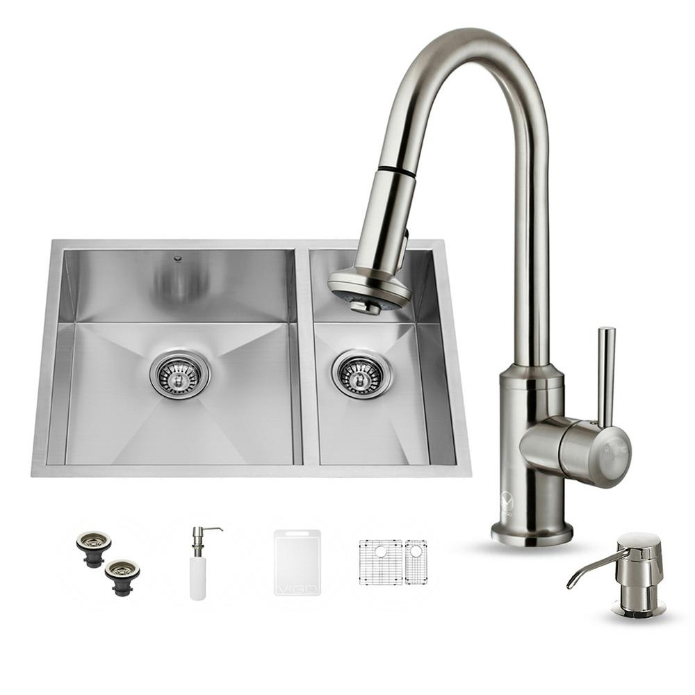vigo all in one undermount stainless steel 29 in double bowl kitchen sink in stainless steel. Black Bedroom Furniture Sets. Home Design Ideas