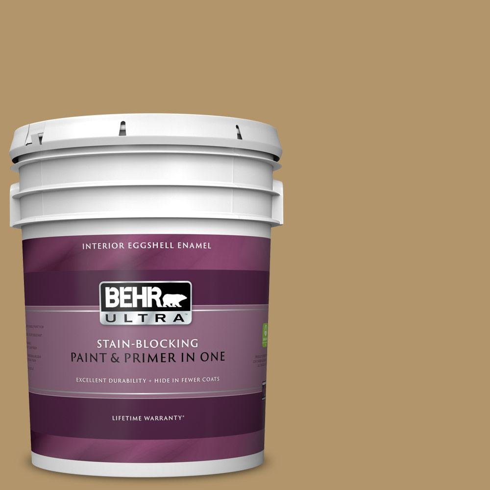 Behr Ultra 5 Gal Bnc 15 Tapestry Gold Eggshell Enamel Interior Paint And Primer In One 275305 The Home Depot