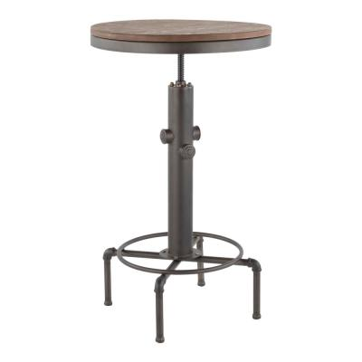 Hydra Adjustable Industrial Antique and Brown Bar Table