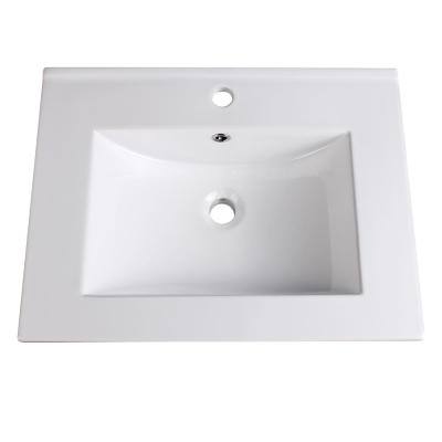 Torino 24 in. Drop-In Ceramic Bathroom Sink in White with Integrated Bowl