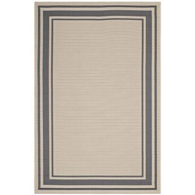 Rim Solid Border Borderline 8 ft. x 10 ft. Indoor and Outdoor Area Rug in Gray and Beige