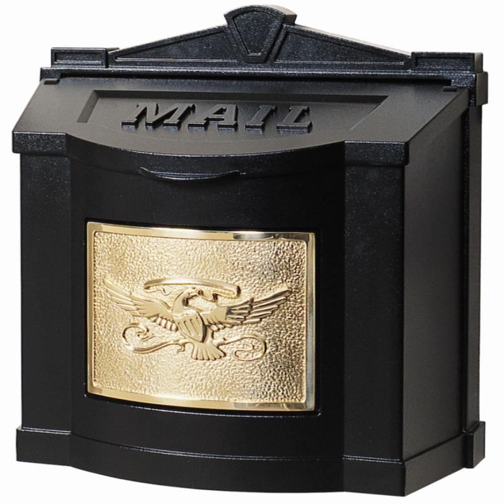 Eagle Accent Wall Mount Mailbox Black with Polished Brass