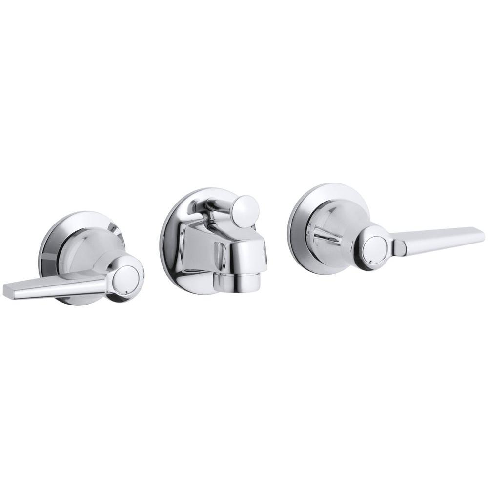 Kohler Triton Shelf Back 2 Handle Wall Mount Commercial Bathroom Faucet With Pop Up Drain And Lever Handles In Polished Chrome