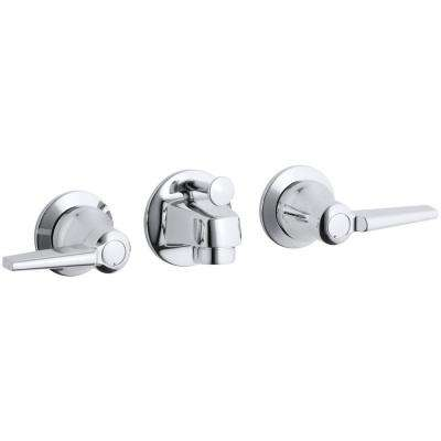 Triton Shelf-Back 2-Handle Wall Mount Commercial Bathroom Faucet with Pop-Up Drain and Lever Handles in Polished Chrome