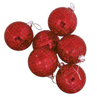 Red Hot Mirrored Glass Disco Ball Christmas Ornaments (9-Count)