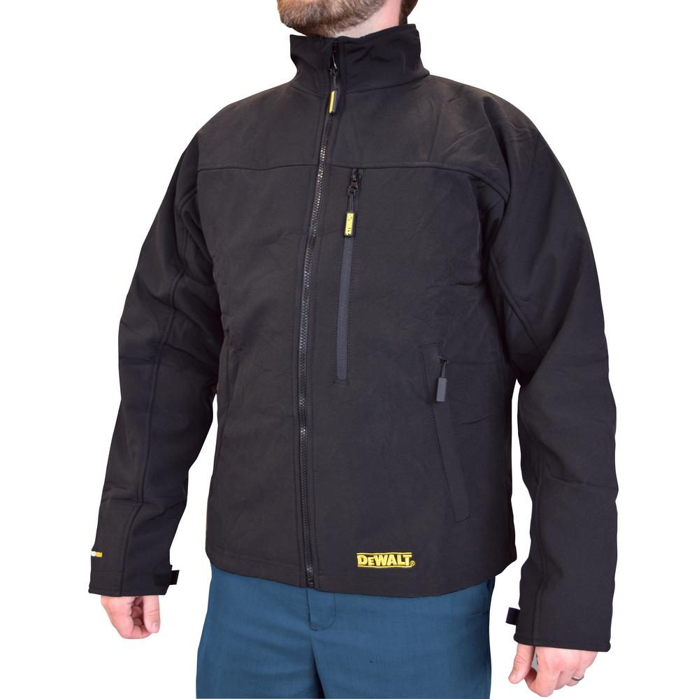 DEWALT Men's 3XL 20V MAX XR Lithium Ion Black Soft Shell Jacket kit with 2.0Ah Battery and Charger