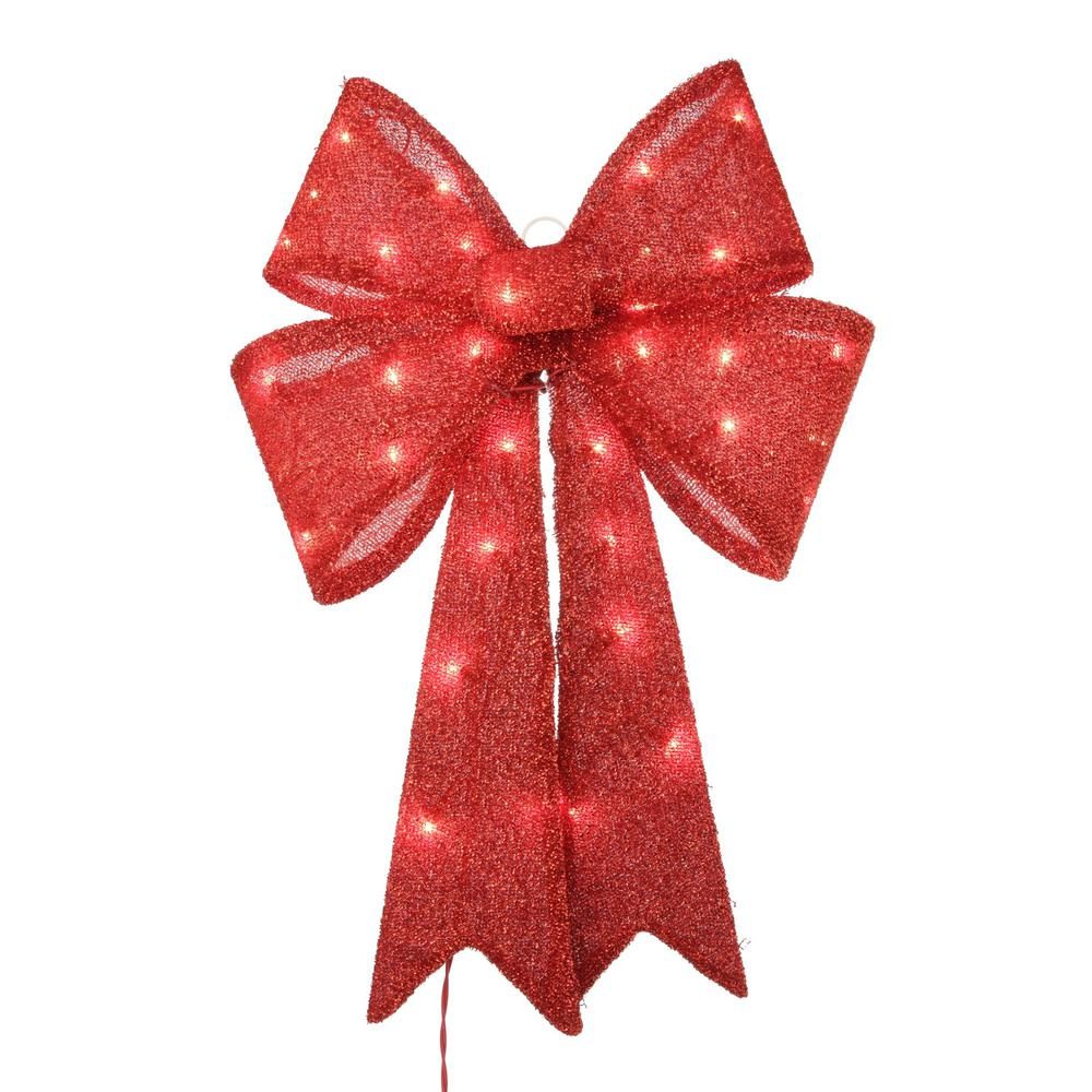 Home Accents Holiday 24 In Pre Lit Red Tinsel Bow