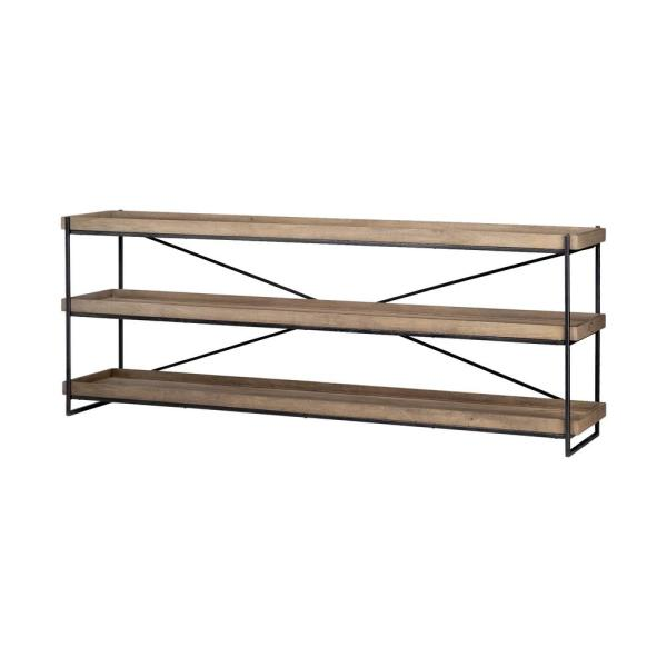 Trey I 30 in. Light Brown console table supported by a matte-black polished iron frame