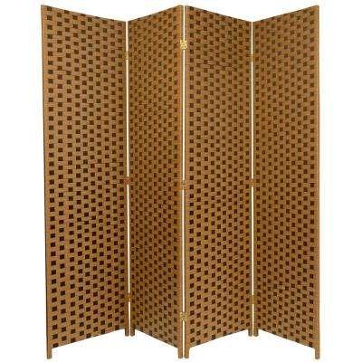 6 ft. Brown 2-Tone Woven Fiber 4-Panel Room Divider
