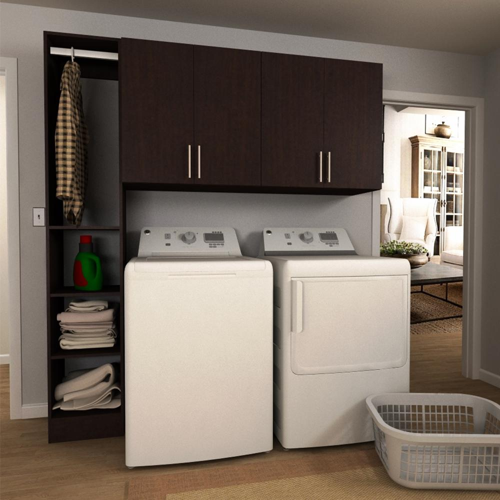 Horizon 75 in. W Mocha Tower Storage Laundry Cabinet Kit