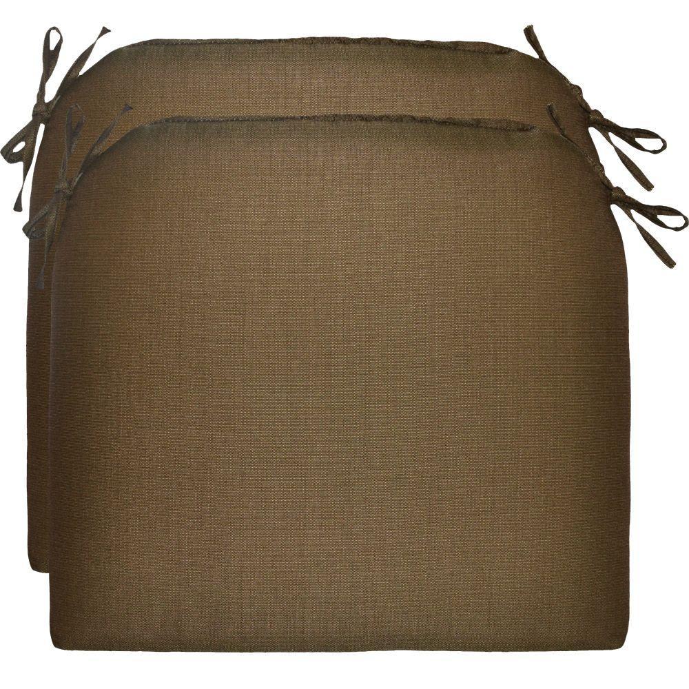 Hampton Bay Wheaton Textured Outdoor Seat Pad (2-Pack)
