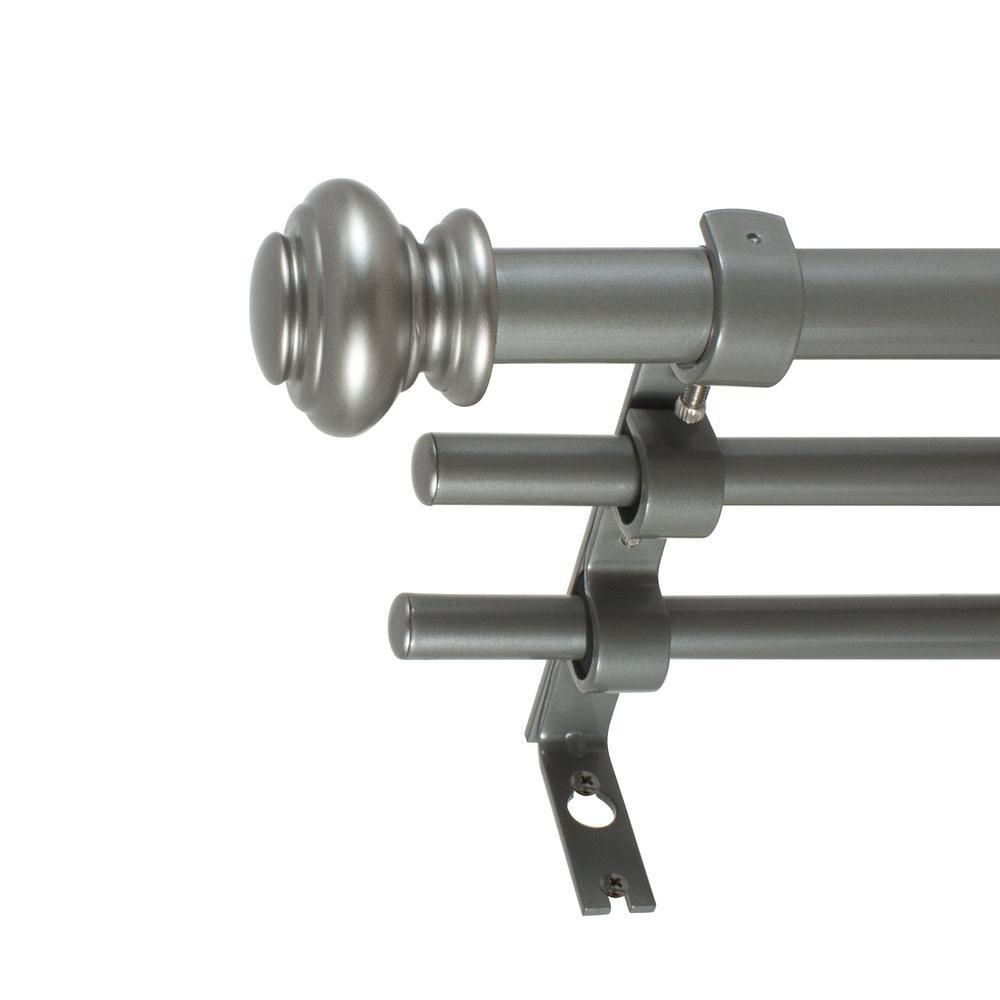 3/4 in. Urn Triple Drapery Rod Set, 42 in. - 120 in. in Antique Silver