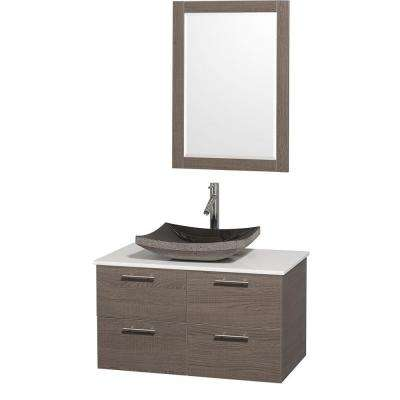 Amare 36 in. Vanity in Grey Oak with Man-Made Stone Vanity Top in White and Black Granite Sink