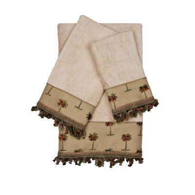 Tropicana Taupe Decorative Embellished Towel Set (3-Piece)