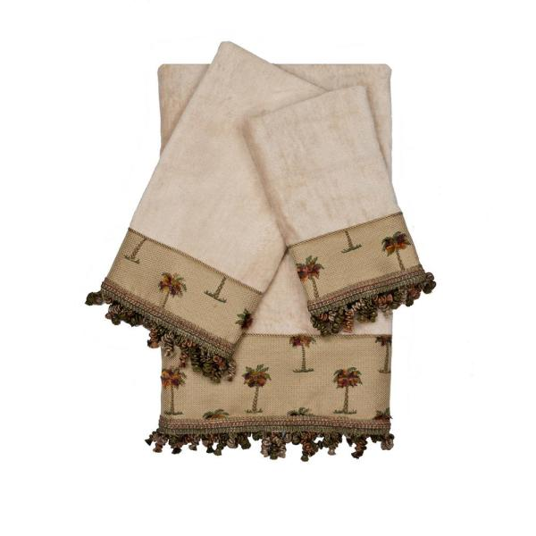 Austin Horn Collection Tropicana Taupe Decorative Embellished Towel Set
