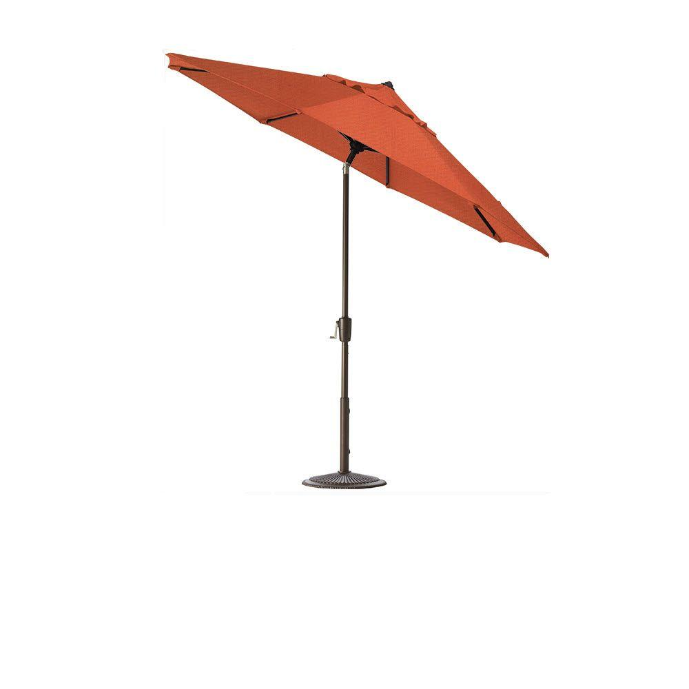 Home Decorators Collection 6 ft. Auto-Tilt Patio Umbrella in Melon Sunbrella with Bronze Frame