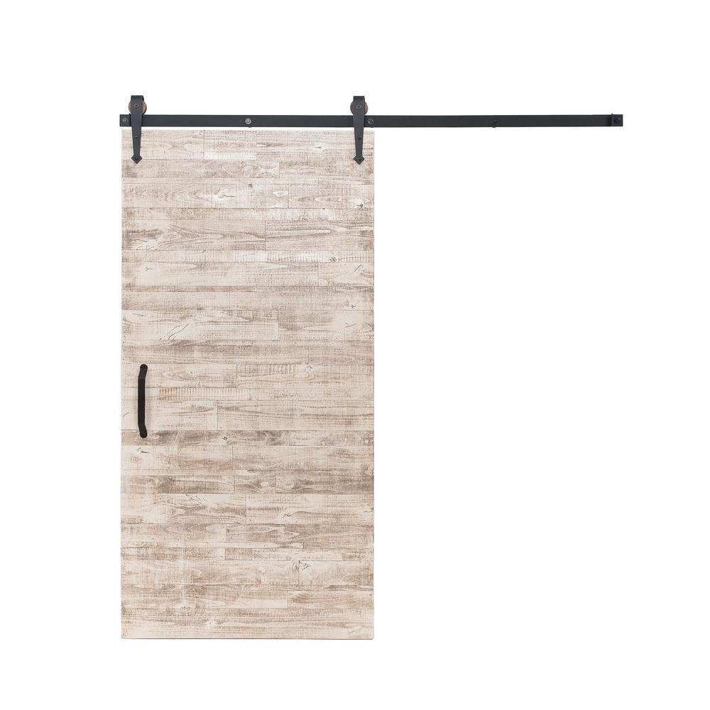42 in. x 84 in. Rustica Reclaimed White Wash Wood Barn Door with Arrow Sliding Door Hardware Kit