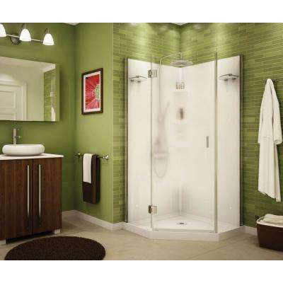 Papaya 36 In X 72 Center Drain Corner Shower Kit White With Frameless Door Chrome