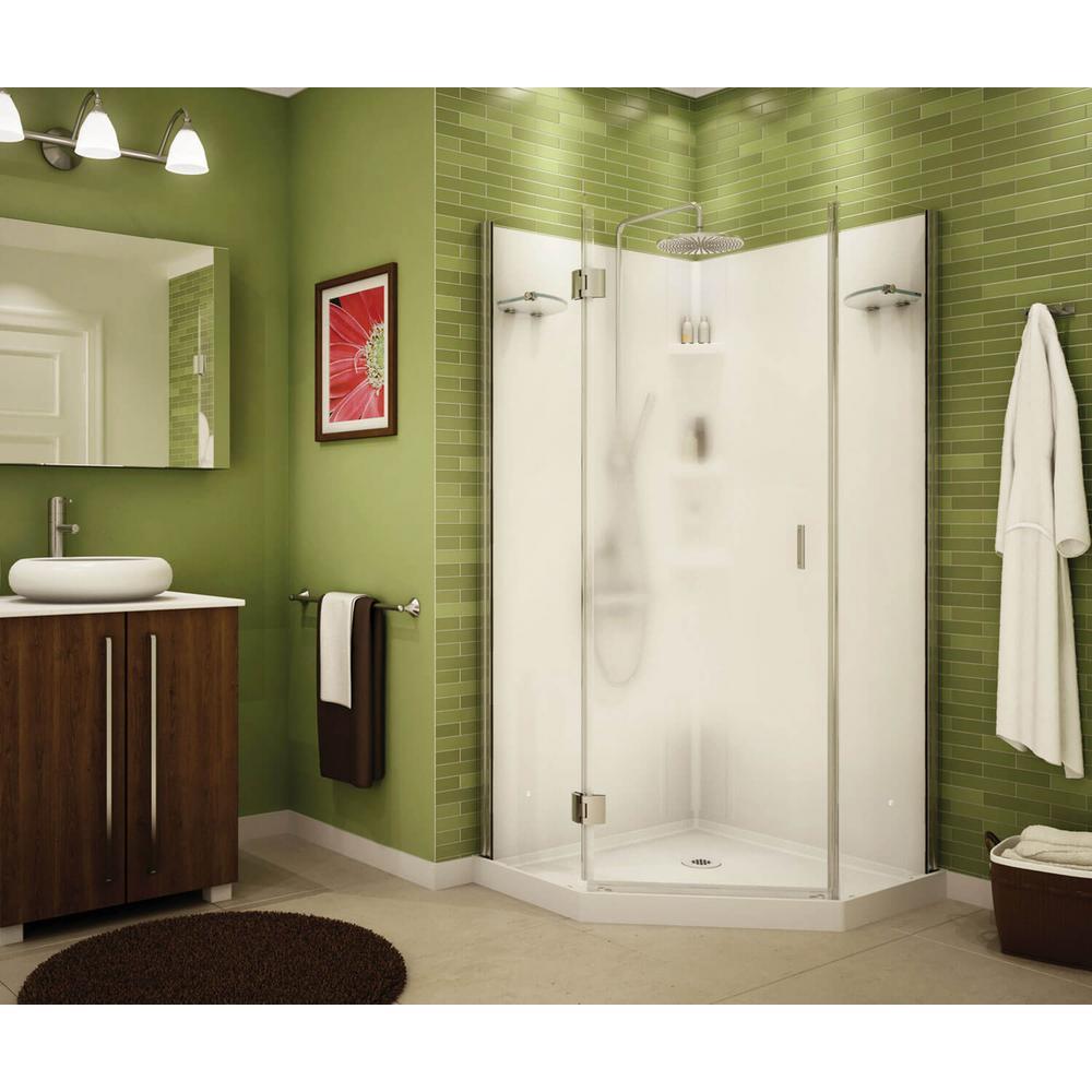 Papaya 36 in. x 36 in. x 72 in. Center Drain Corner Shower Kit in White with Frameless Door in Chrome