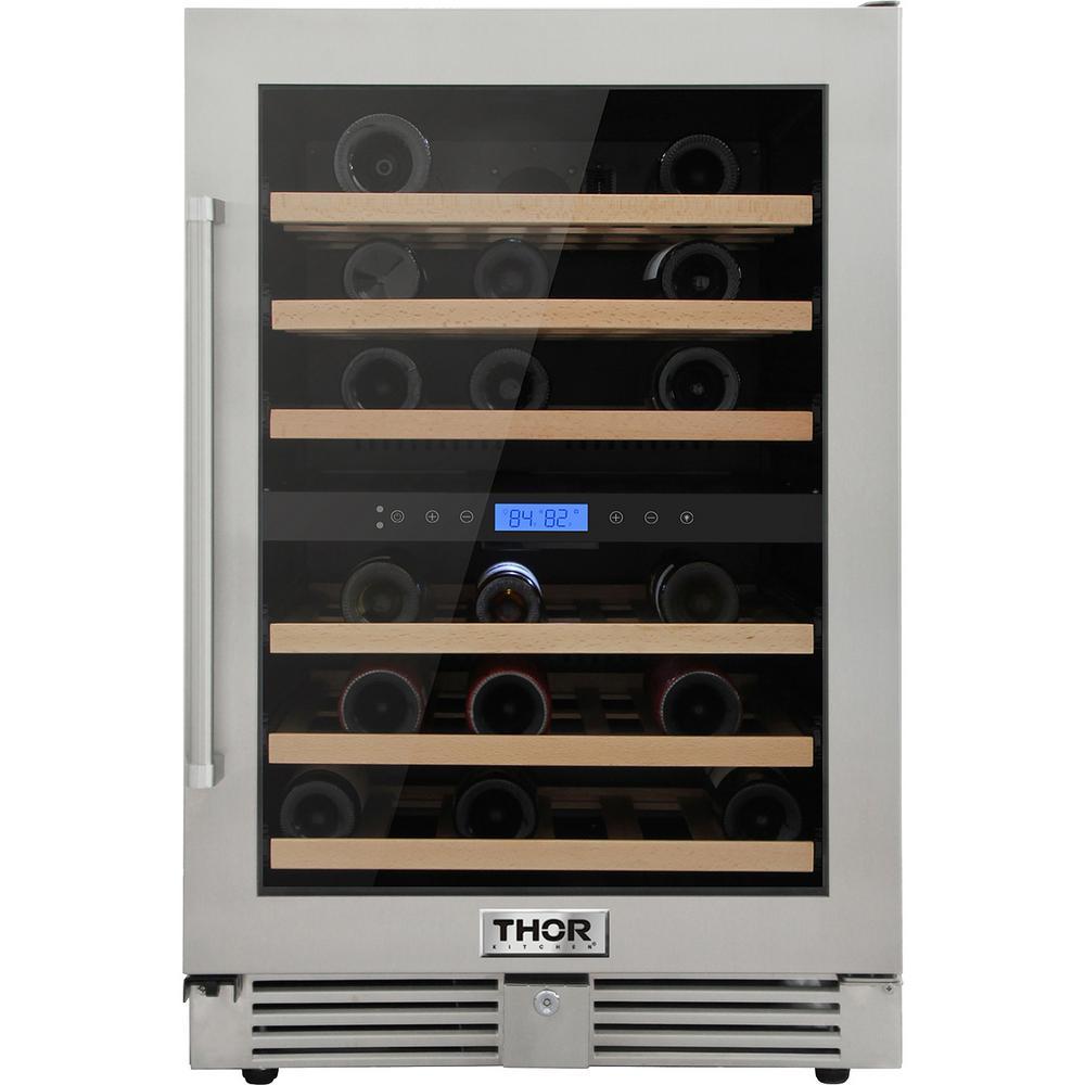 Thor Kitchen 24 in. 46-Bottles Built-in Indoor/Outdoor Independent Dual  Zone Wine Cooler