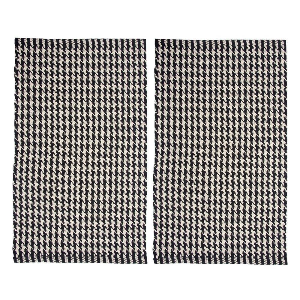 Portland Houndstooth Black 2 ft. x 3 ft. 2-Piece Rug Set