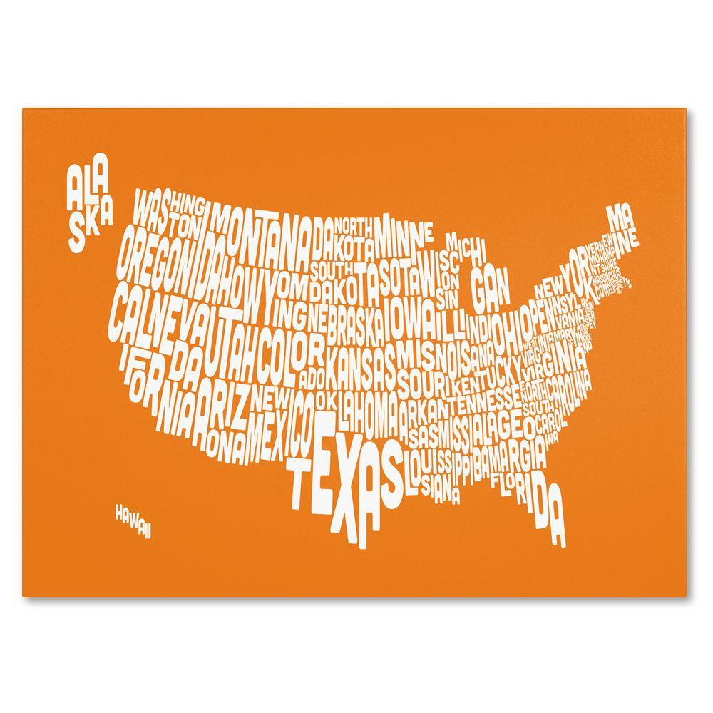 null 16 in. x 24 in. USA States Text Map - Orange Canvas Art