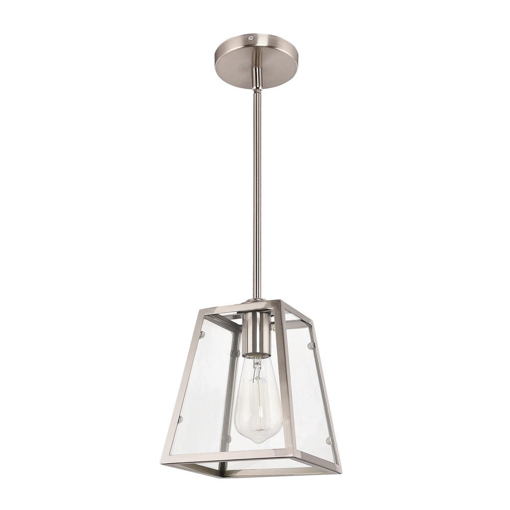 Home Decorators Collection 1-Light Brushed Nickel and Glass Mini Pendant