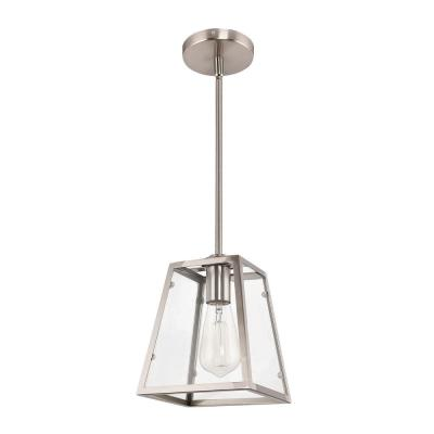 1-Light Brushed Nickel and Glass Mini Pendant