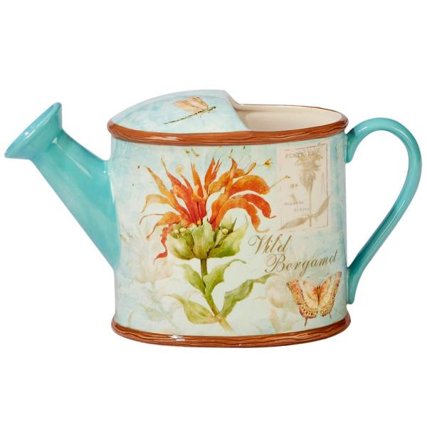 Certified International Herb Blossoms 3 qt. Multi-Colored 3-D Watering Can