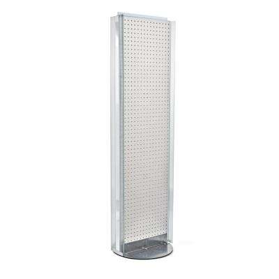 60 in. H x16 in. W Pegboard Floor Display in White with C-Channel Sides on a Revolving Base