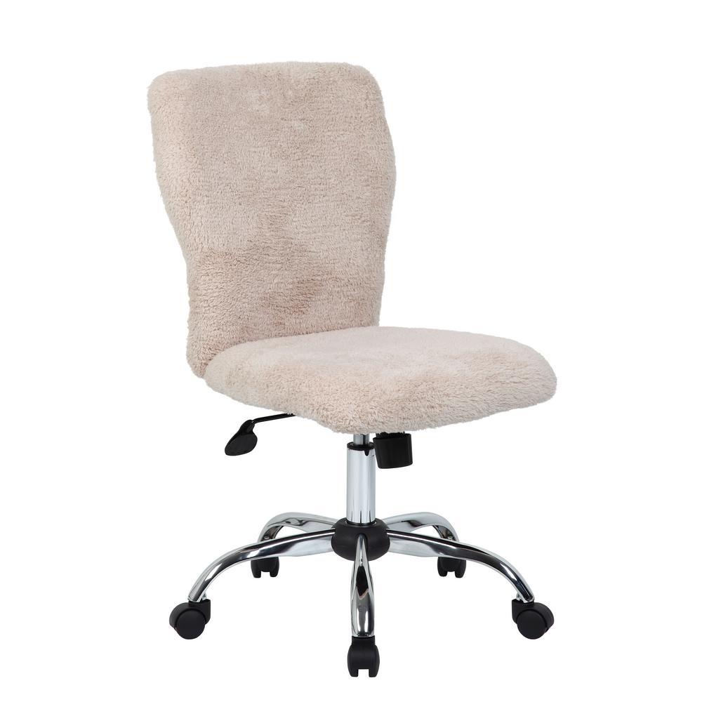 Boss Furry Cream Tiffany ChairBFCRM The Home Depot - Cream desk chair