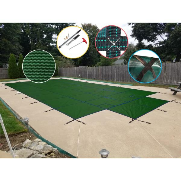 16 ft. x 32 ft. Rectangle Green Mesh In-Ground Safety Pool Cover with Center End Step