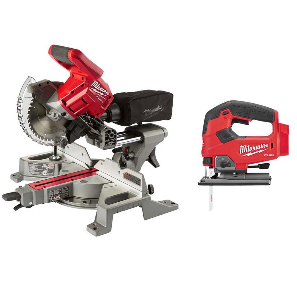 Milwaukee M18 FUEL 18-Volt Lithium-Ion Brushless 7-1/4 in. Cordless Dual Bevel Sliding Compound Miter Saw with Jig Saw