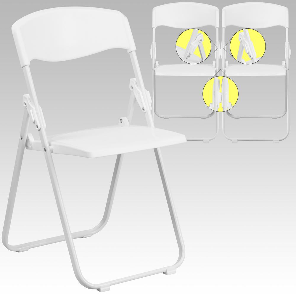 White plastic folding chairs - Flash Furniture Hercules Series 880 Lb Capacity Heavy Duty White Plastic Folding Chair With Built In Ganging Brackets Rutiwht The Home Depot