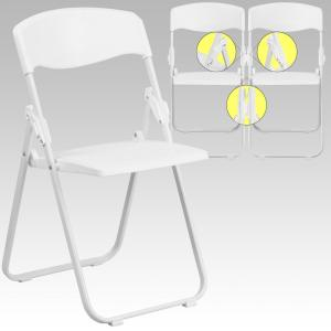 Hercules Series 880 Lb. Capacity Heavy Duty White Plastic Folding Chair  With Built In