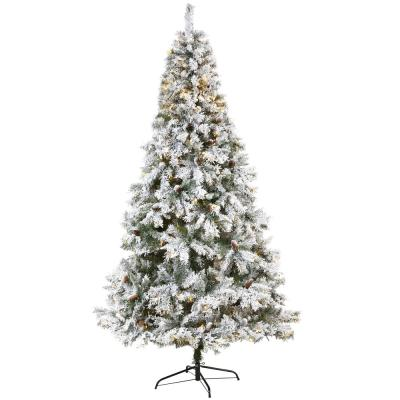 8 ft. White Pre-Lit Flocked River Mountain Pine Artificial Christmas Tree with Pine Cones and 500 Clear LED Lights