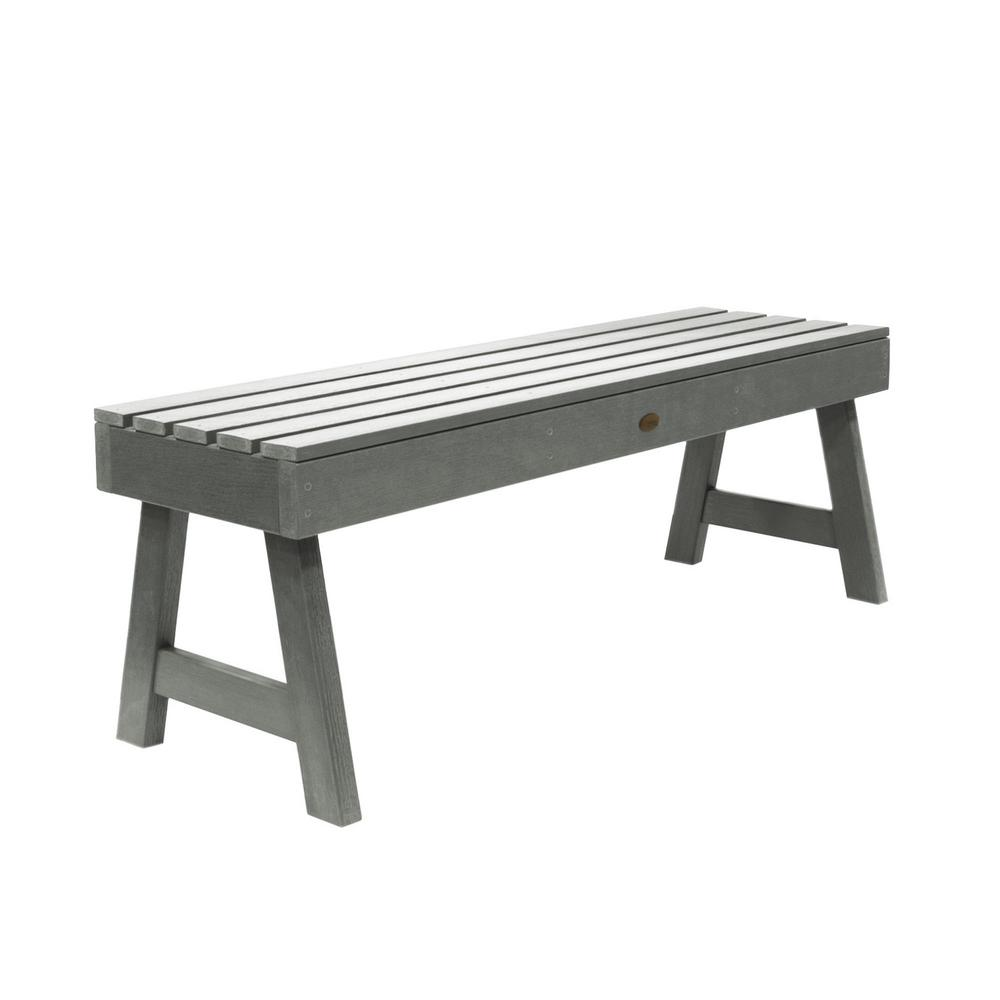 Highwood Weatherly 48 in. 2-Person Coastal Teak Recycled Plastic Outdoor Picnic Bench